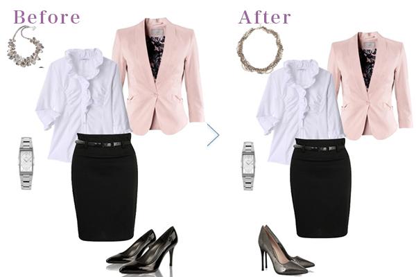 胸にボリュームを出してスタイルアップ!30代女性の華やかビジネスファッション